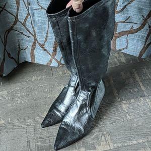 Donald J. Pliner Silver Metallic Stretch Boots